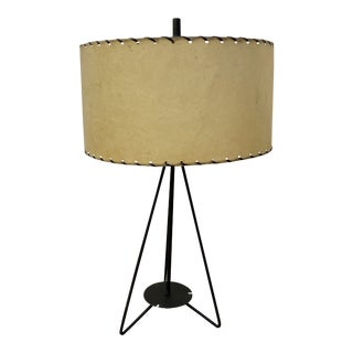Mid 20th-Century Leather Wrap + Iron Table Lamp For Sale