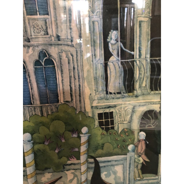1980s Thomas McKnight Framed Color Etching Venetian Idyll 99/100 Pencil Signed 1981 For Sale - Image 5 of 13