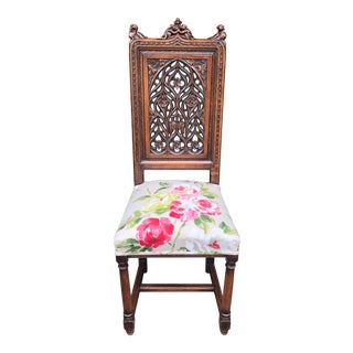Superb Gothic Style English Side Chair For Sale