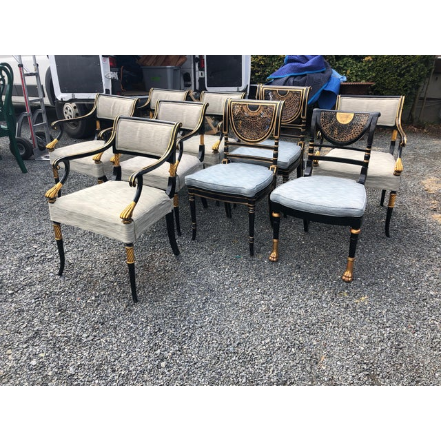 1990s Vintage Karges Regency Black and Gold Armchairs Dining Chairs- Set of 6 For Sale - Image 12 of 13