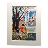 Image of 1962 Mid-Century Classroom Teaching Poster Playing With Leaves For Sale