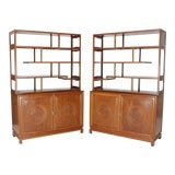 Image of 1990s Asian Solid Teak Étagère/Double Carved Door Cabinets - a Pair For Sale