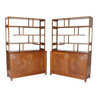 1990s Asian Solid Teak Étagère/Double Carved Door Cabinets - a Pair For Sale