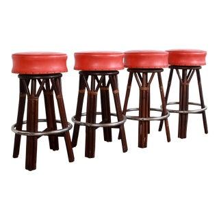 Bamboo & Orange Vinyl Barstools With Chrome Footrest - Set of 4 For Sale