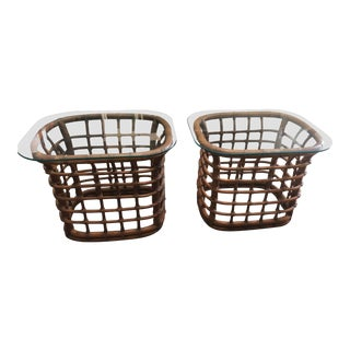 Palm Beach Style Bamboo Side Tables, Pair For Sale