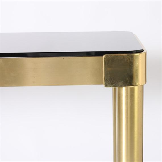 Italian brass console with smoky glass top, c. 1950.