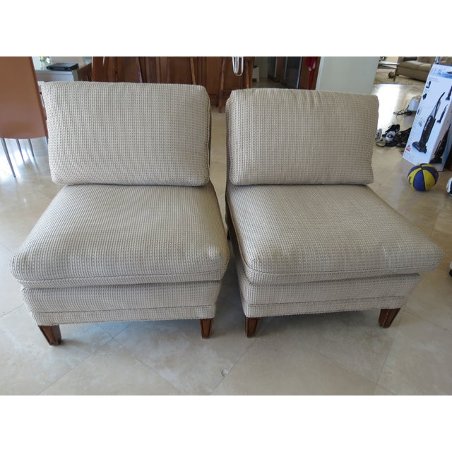 Vintage Mid-Century Twill Accent Chairs - A Pair - Image 7 of 11