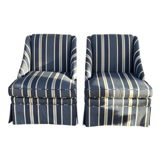 Vintage Mid Century Schumacher Striped Accent Chairs- A Pair For Sale