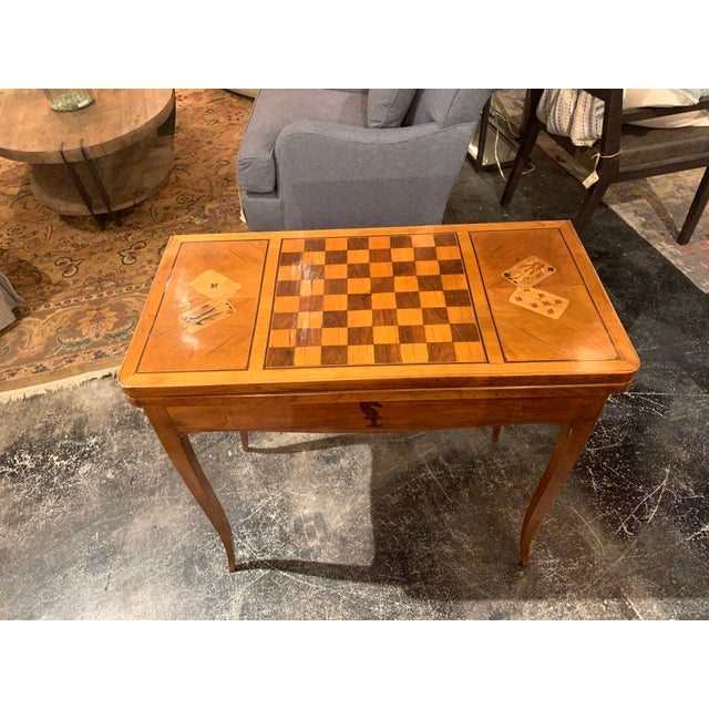 English 19th Century English Traditional Fruitwood Game Table With Inlay For Sale - Image 3 of 13