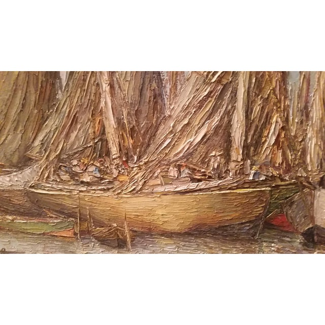 Vintage Haitian Boat Scene Oil Painting by Ernst Louiszor - Image 4 of 6