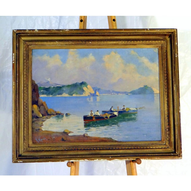 Italian Coastal Painting With Mount Vesuvius by Henry Ravell (1864 – 1930 California) For Sale - Image 12 of 12