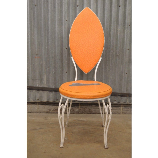 White Vintage Wrought Iron Patio Side Chair For Sale - Image 8 of 9