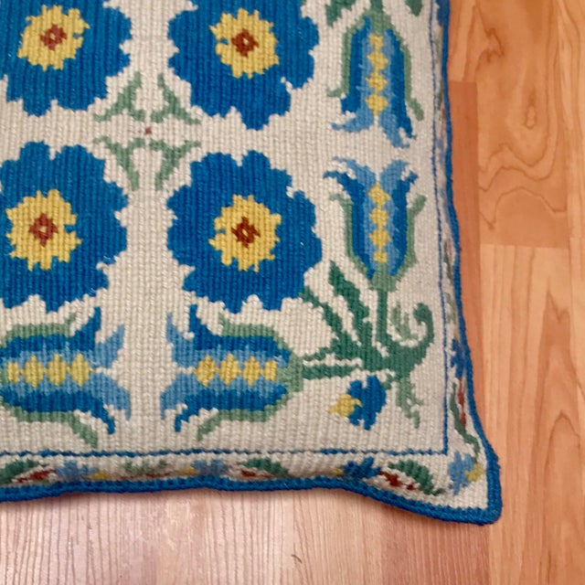 1950s Shabby Chic Handmade Needlepoint Pillow For Sale - Image 4 of 13