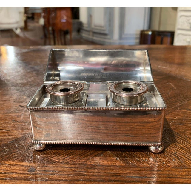19th Century French Silver Plated Over Copper Casket Inkwell For Sale In Dallas - Image 6 of 12