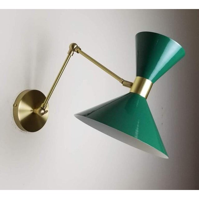 French Large Scale Monarch Wall Mount Lamp in Brass, Emerald Green, Blueprint Lighting For Sale - Image 3 of 5