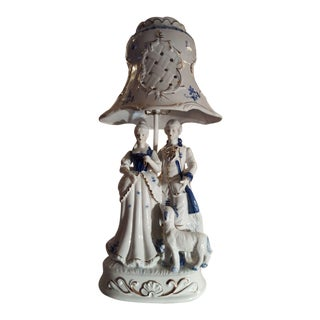 Victorian Blue & White Porcelain Lamp For Sale
