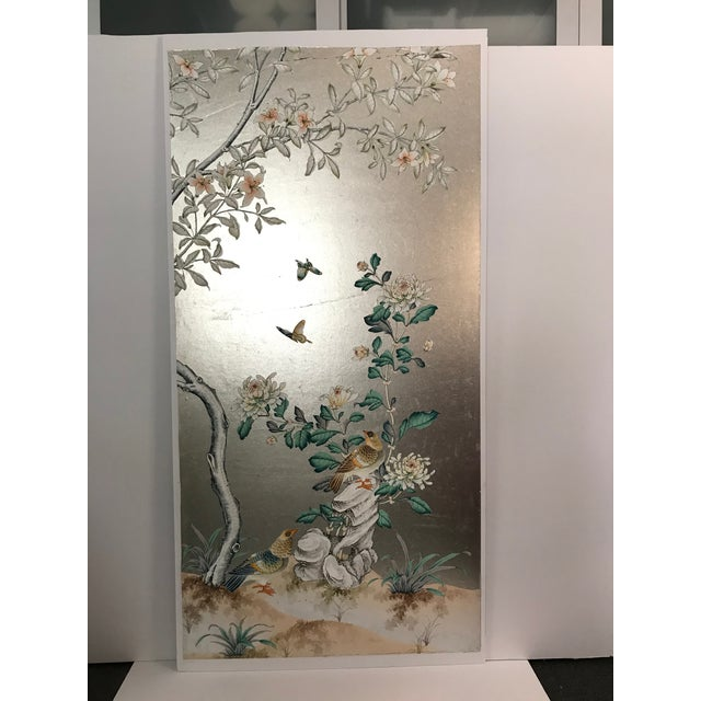 Silver Handpainted Chinoiserie Wallpaper Panel, Silver Metal Leaf With Birds For Sale - Image 8 of 8