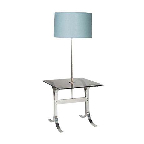 1970's Chrome & Glass Floor Lamp For Sale