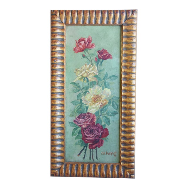 Antique English Red & Yellow Roses Floral Oil Painting For Sale