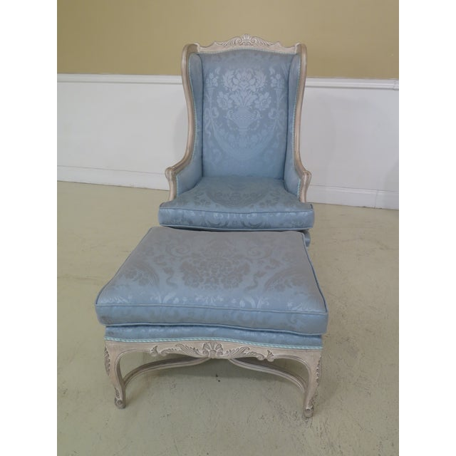 Blue French Louis XV Style Carved Wing Chairs & Ottoman - 3 Pieces For Sale - Image 8 of 13