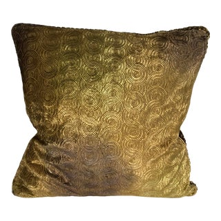 Richard Fischer Christmas Collection Hand Painted Embroidered Velvet Pillow With Swarovski Crystals Trim-Gold For Sale