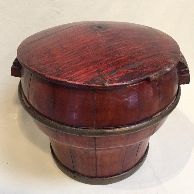 1960s Asian Grain Bucket W/ Lid For Sale - Image 5 of 9