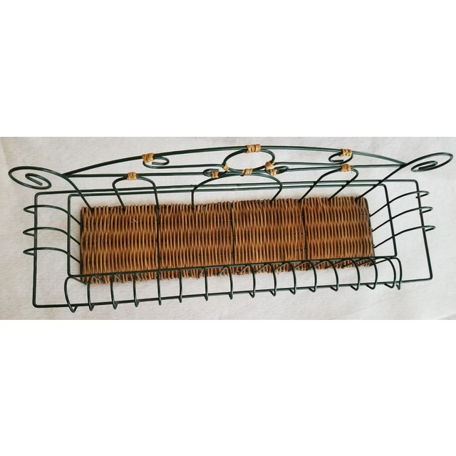 Late 20th Century Late 20th Century Wicker and Green Metal Wire Wall Shelves - 3 Pieces For Sale - Image 5 of 9