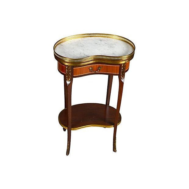 Antique Louis XV-style kidney-shaped table en chiffonier with reticulated brass gallery, and frieze drawer on curved legs,...