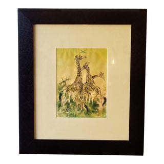 Mid 20th Century Watercolor Painting of a Family of Giraffes, Framed For Sale