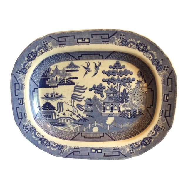 English Staffordshire Blue Willow Country Platter - Image 1 of 4