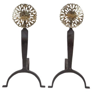 Pair of Brass Andirons With Pierced Medallions For Sale