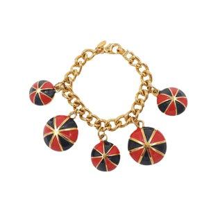 Escada Red & Black Enamel Charm Bracelet For Sale
