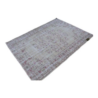 Floral Overdyed Turkish Rug For Sale
