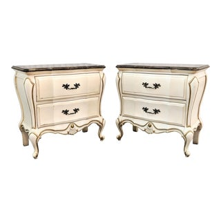 French Provincial Gilded Bombe Chest of Drawers - a Pair For Sale