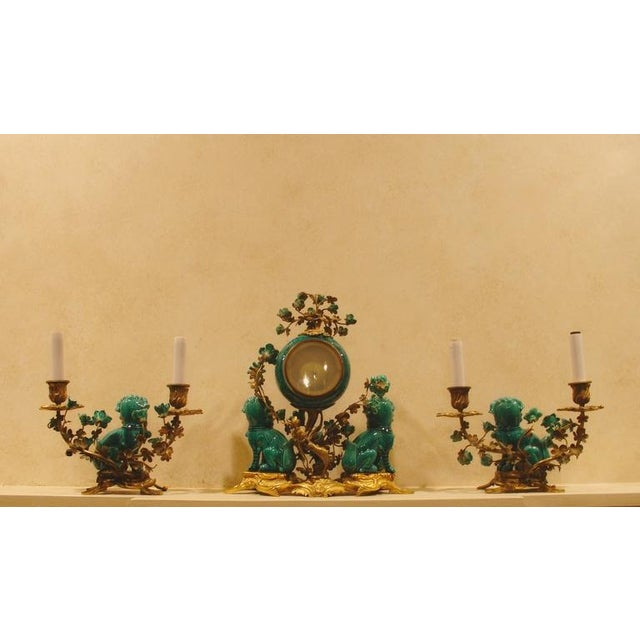 A Chinese Porcelain and French Ormolu Mounted Clock Garniture - Image 2 of 8
