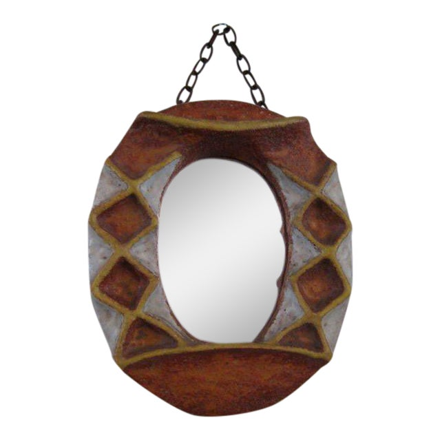 A Ceramic Mirror by Isabelle Ferlay Vallauris For Sale