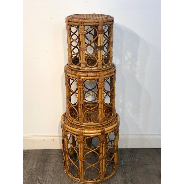 Brown Set of Three Graduating/ Nesting Bamboo, Rattan and Reed Nesting Side Tables For Sale - Image 8 of 13