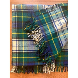 Antique Hilltop Navy Plaid Hand Loomed Wool Full Size Throw With Fringe Preview