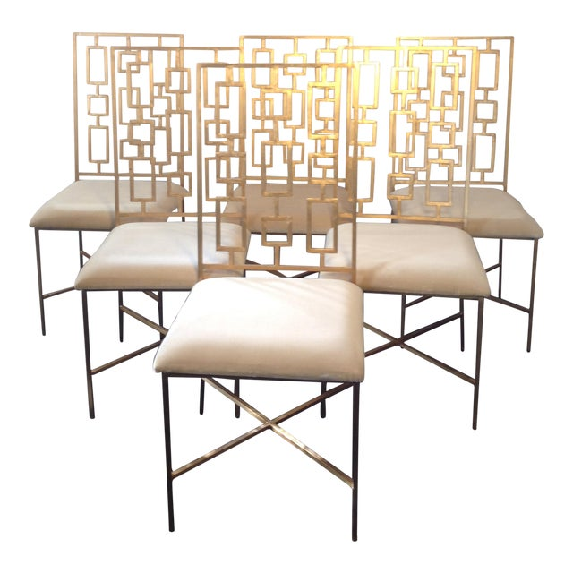 Worlds Away David Gold Iron Chairs - Set of 6 - Image 1 of 11