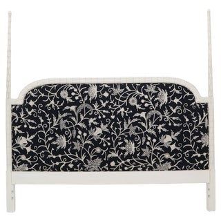 Upholstered Decorative Black and White Fabric King Size Poster Headboard For Sale