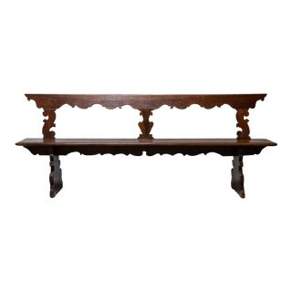 19th Century Italian Primitive Hand Carved Bench For Sale