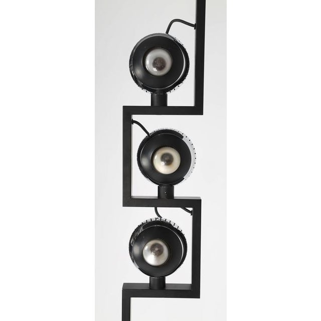 Amazing floor lamp designed by Angelo Lelli for his Italian lighting company, Arredoluce, circa 1970s. Three chromed-steel...