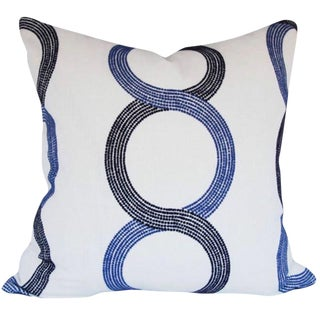 Geometric Embroidered Navy and Cobalt Blue and Off White Pillow