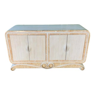 Pencil Reed Rattan and Stone Scroll Sideboard For Sale