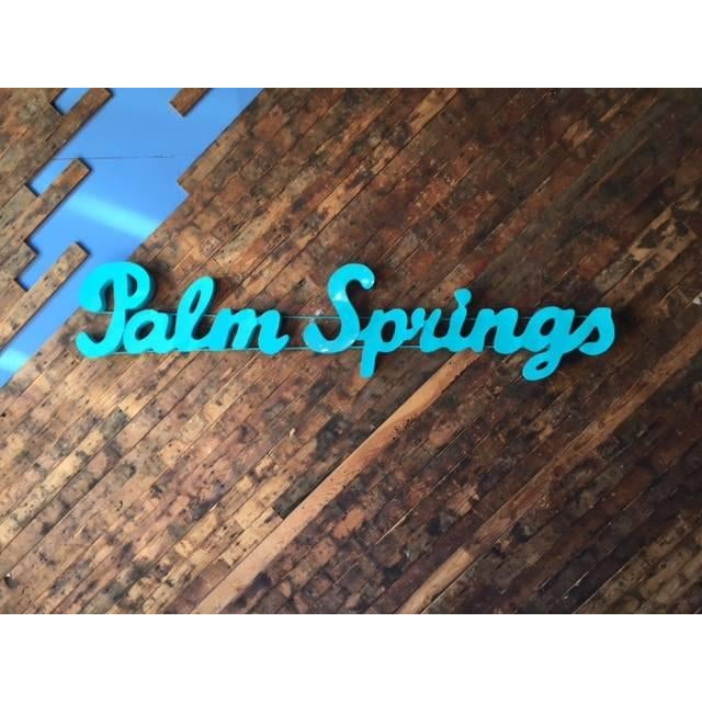 Industrial blue Palm Springs metal sign custom piece, can be ordered with lights or original patina and great for indoors...