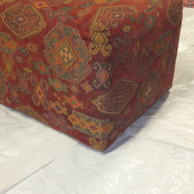Ottoman with Soumak kilim style fabric in mint condition. It has a beautiful geometric design. Very trendy right now!