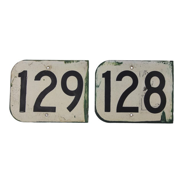 Vintage Metal Signs Numbered 128 & 129 From Airplane Hanger - Set of 2 For Sale