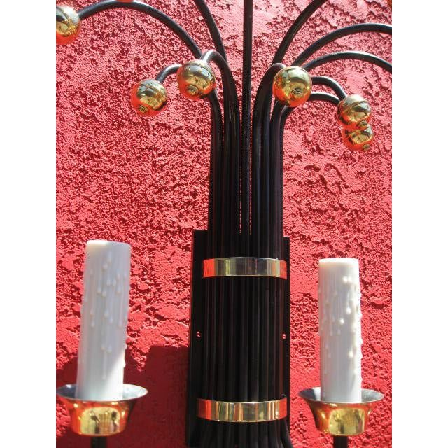 Mid-Century Large Wall Sconce With Brass Accents For Sale - Image 4 of 7