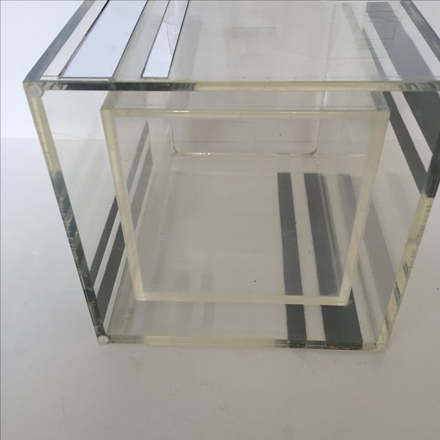 Lucite Ice Bucket With Mirrored Accents For Sale - Image 7 of 8