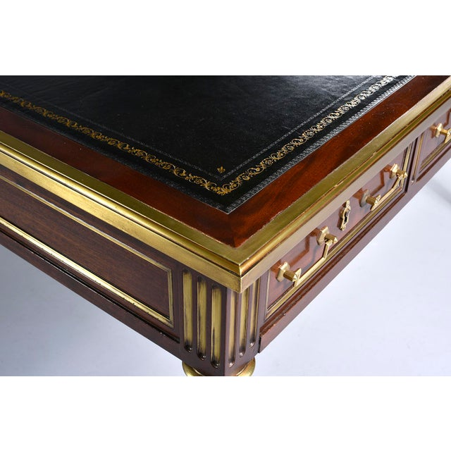 Louis XVI Style Mahogany Writing Desk With Brass Mounts For Sale - Image 10 of 13